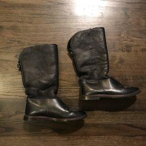 Draper of Glastonbury Black Leather Sherpa Boots 7